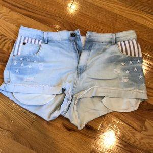 Stars & Stripes High Waisted Denim Shorts